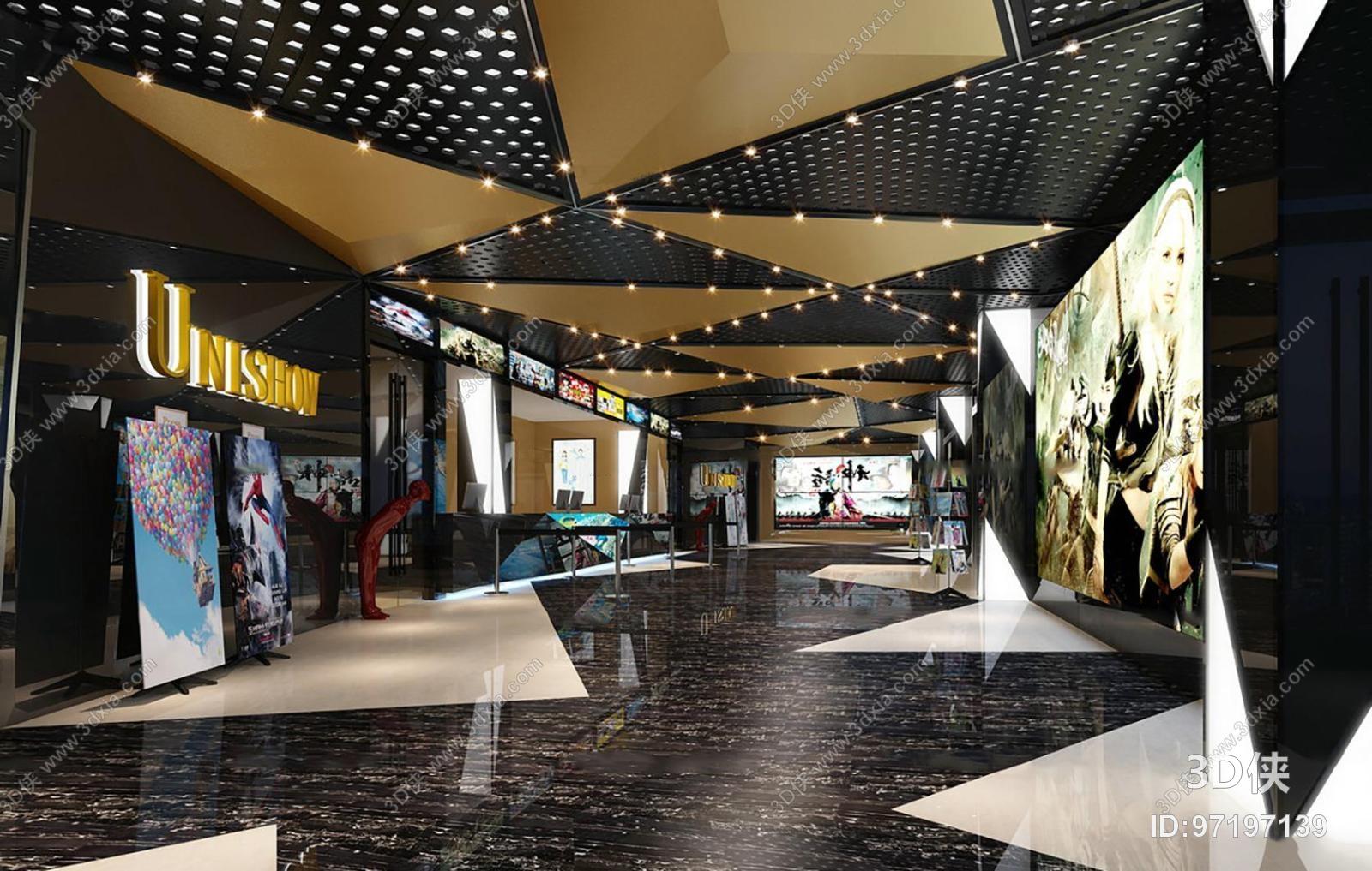 现代电影院3D模型