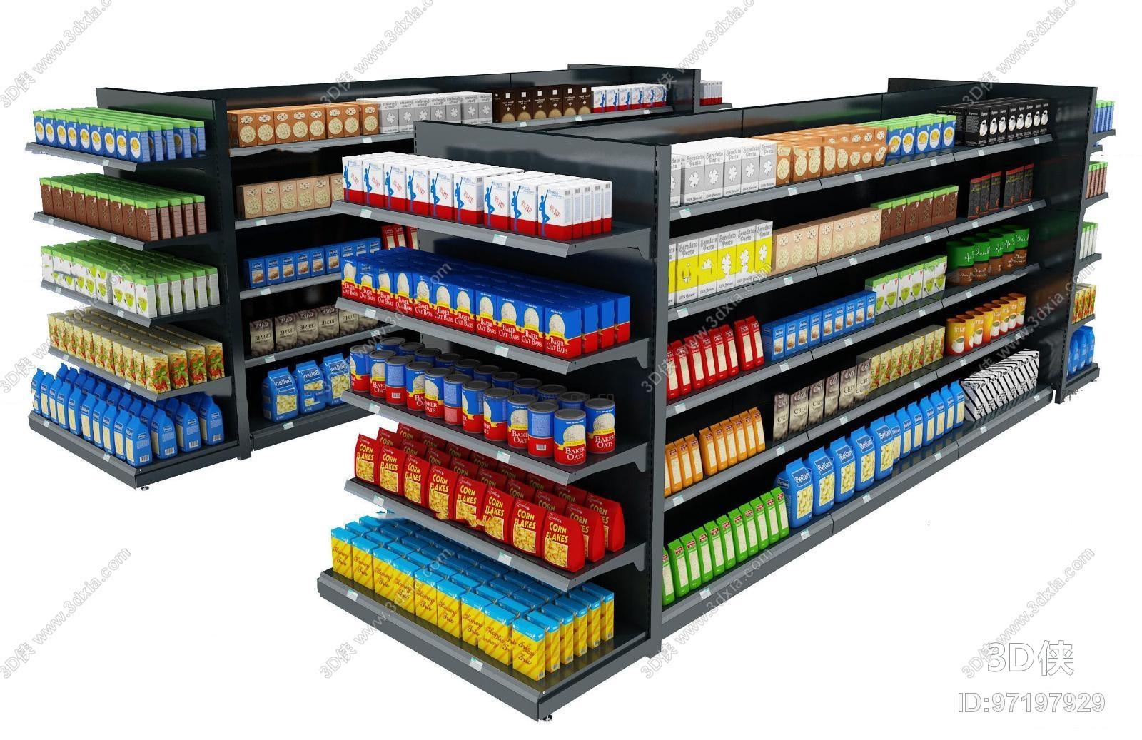 货架效果图素材免费下载,本作品主题是现代零食超市货架组合3d模型