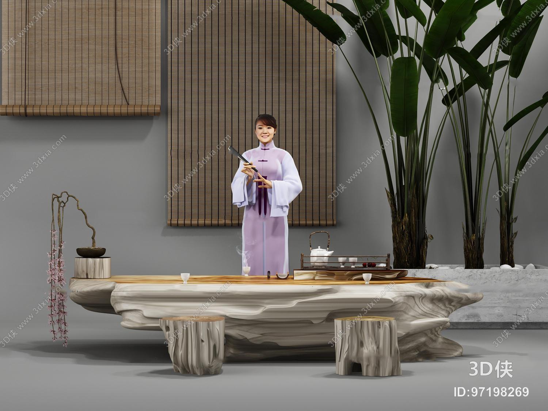 新中式树根茶几摆件3d模型