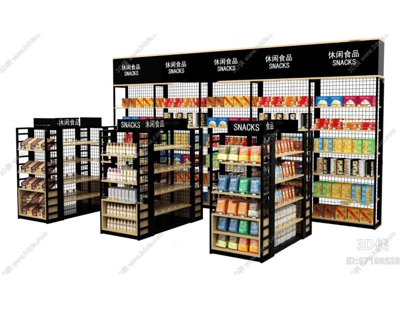 现代休闲零食超市货架组合3D模型