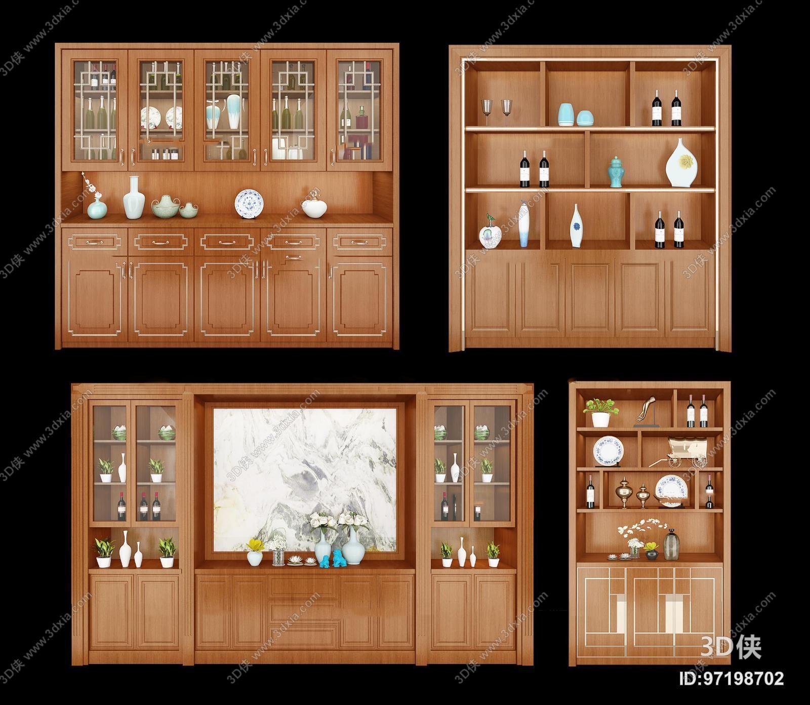 4319浏览数724次下载 3d侠模型网提供精美好看的中式风格 酒柜效果图