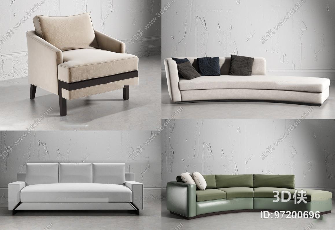 多人沙发效果图素材免费下载,本作品主题是现代弧形沙发组合3d模型