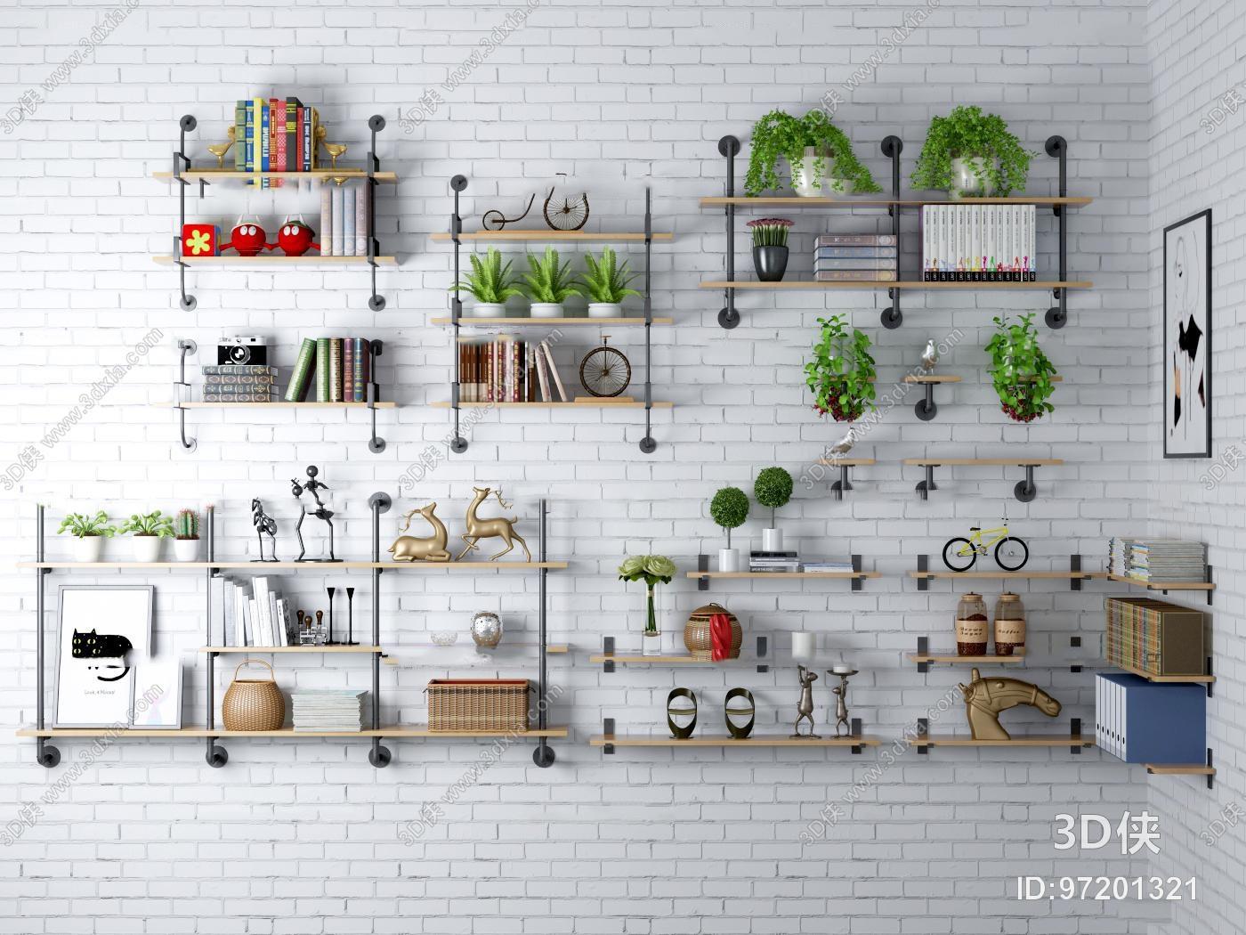工业风水管装饰架盆栽组合3D模型