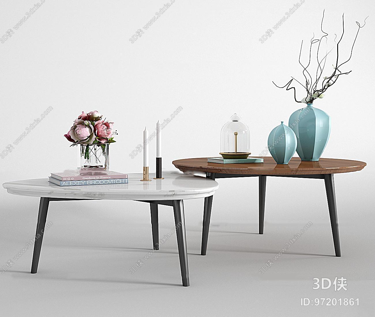 现代大理石实木茶几饰品组合3d模型