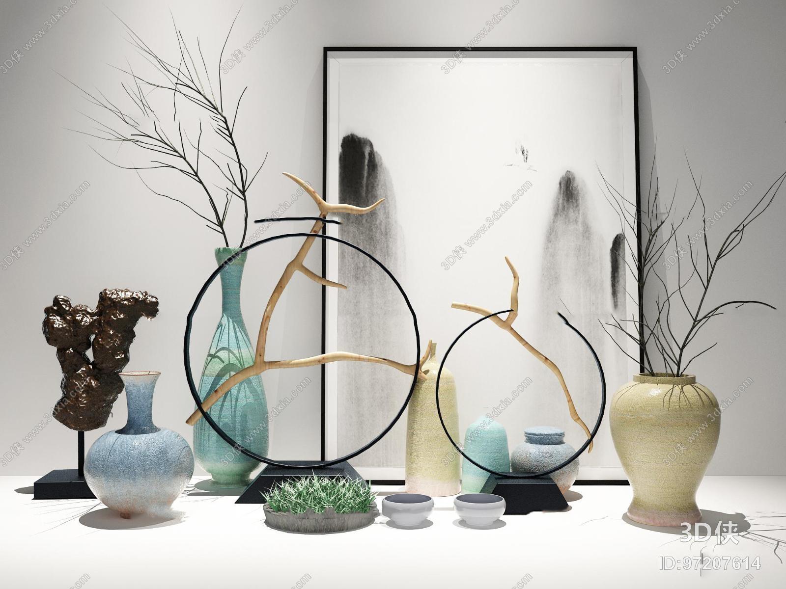 新中式陶瓷花瓶摆件组合3D模型