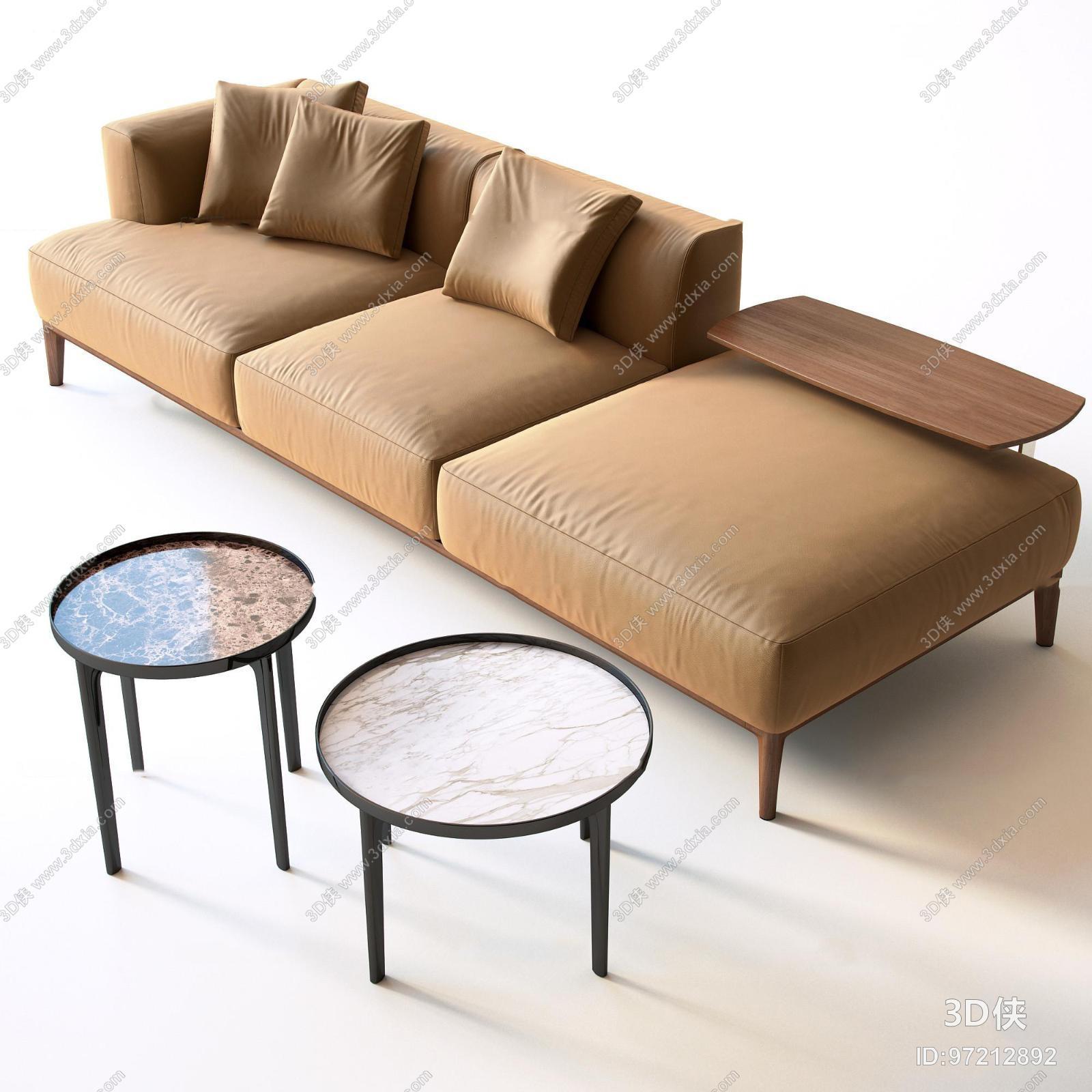 多人沙发效果图素材免费下载,本作品主题是现代多人沙发茶几组合3d