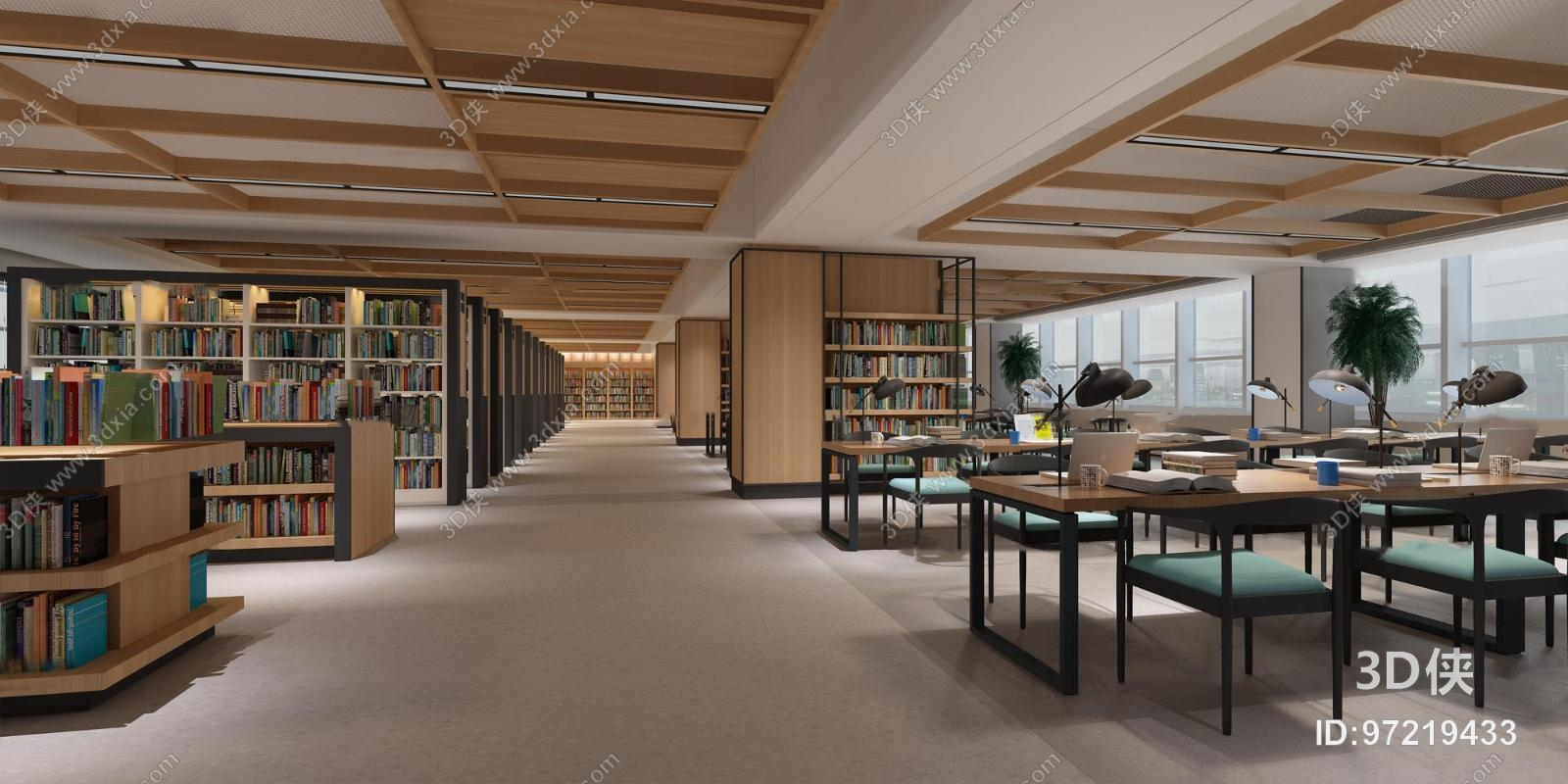 现代图书馆阅览室3D模型