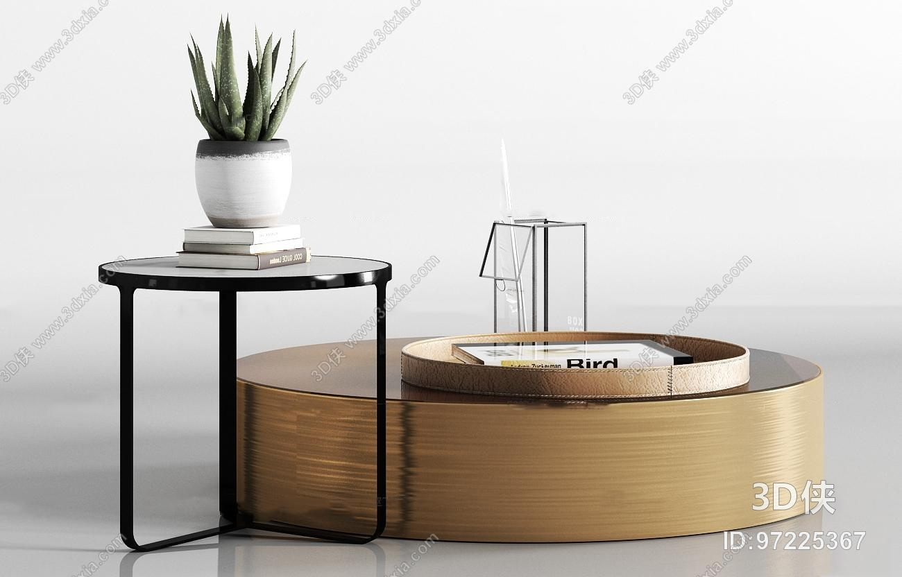 现代金属茶几饰品组合3D模型