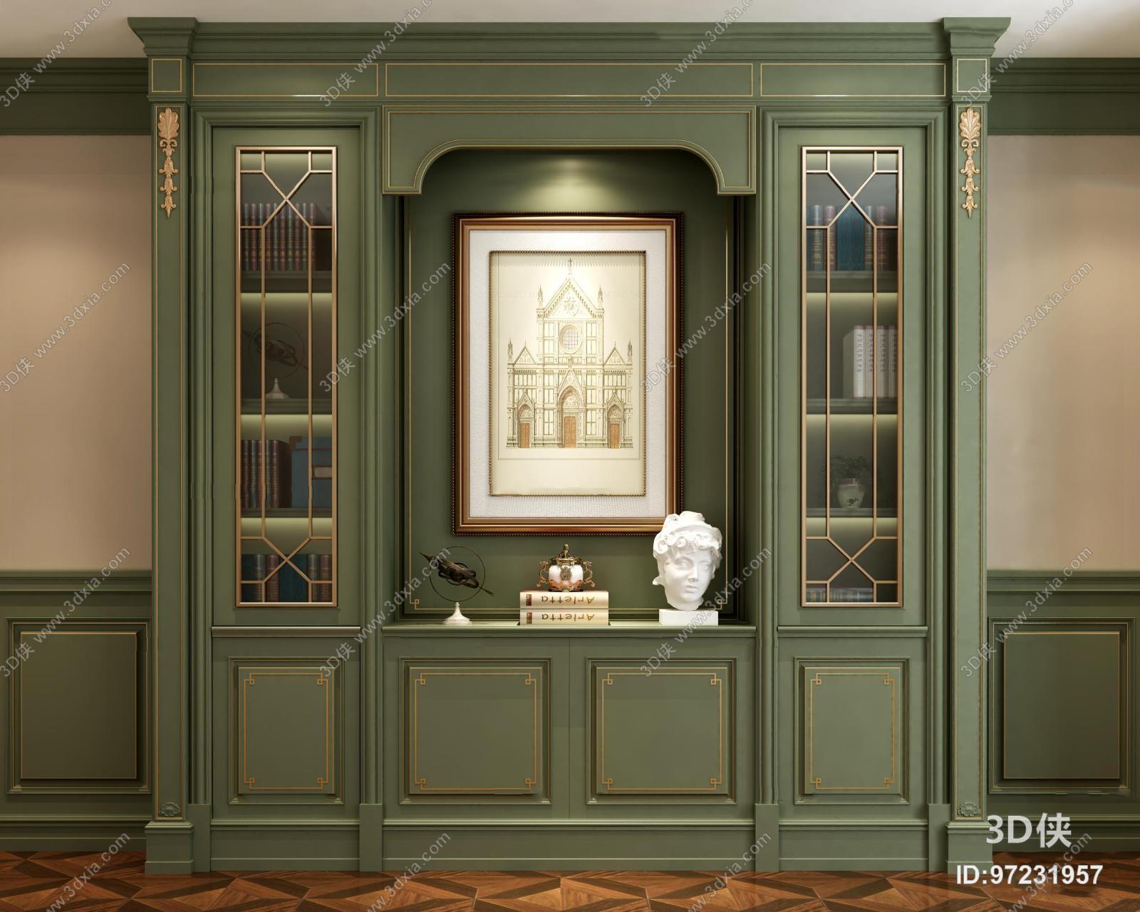 3029浏览数720次下载 3d侠模型网提供精美好看的欧式风格 书柜效果图图片
