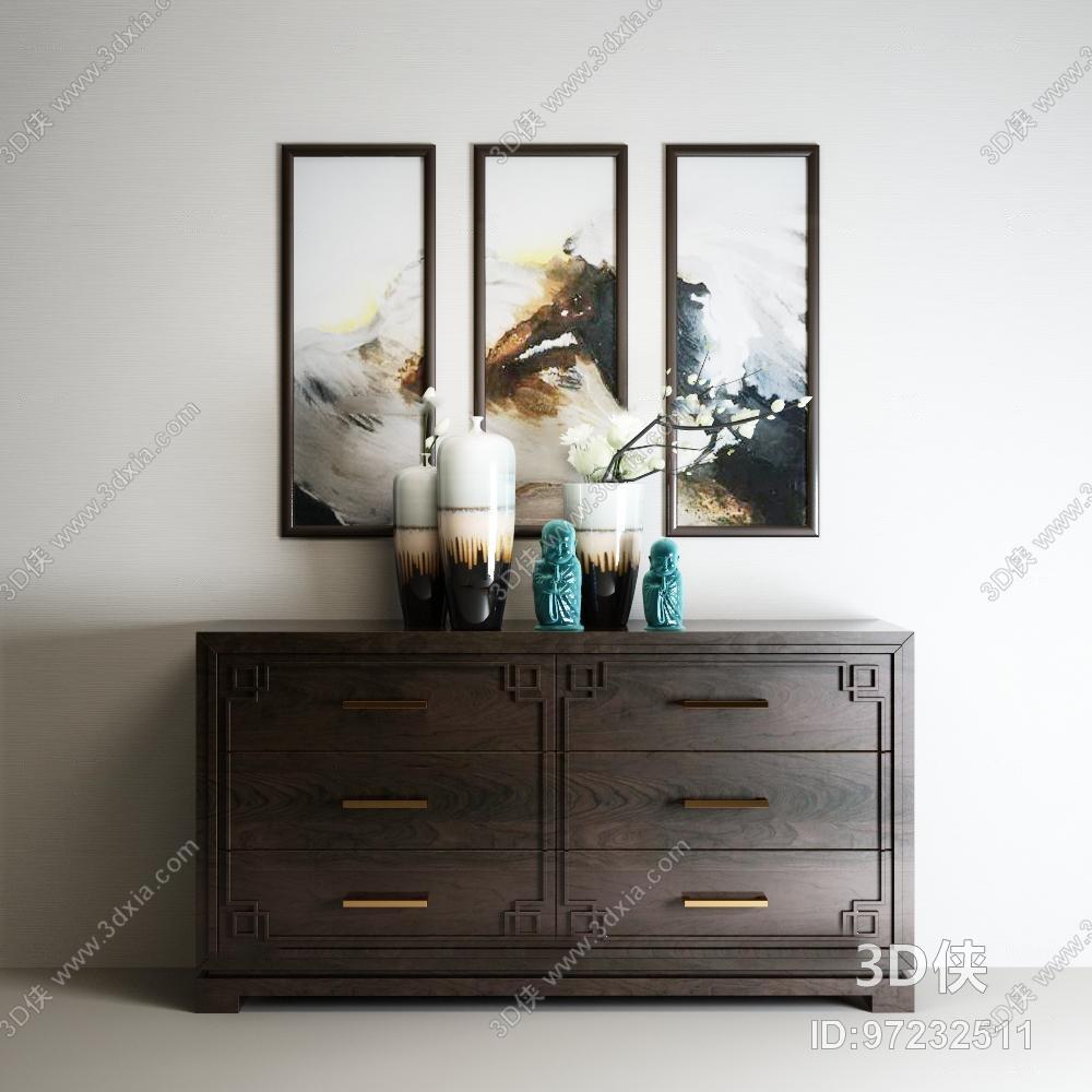 玄關柜效果圖素材免費下載,本作品主題是新中式邊柜裝飾畫擺件組合3d