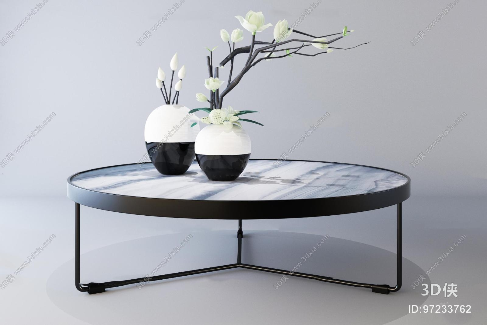 新中式铁艺圆形茶几陶瓷摆件3D模型