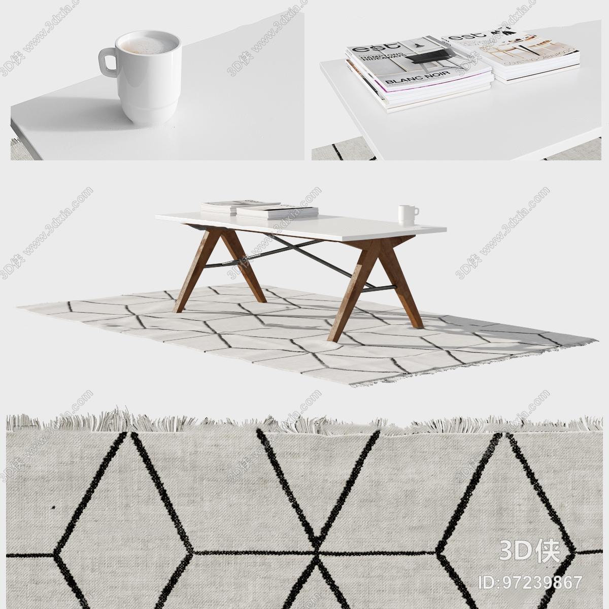 现代茶几地毯摆件组合3D模型