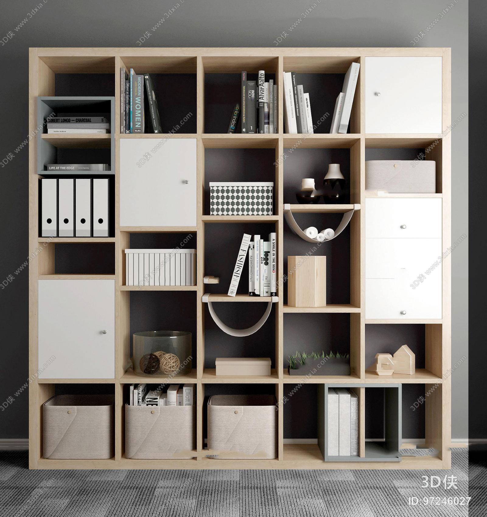 北欧装饰柜书籍摆件组合3D模型