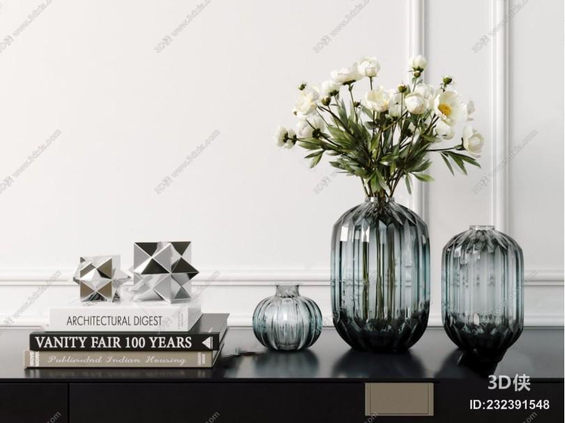 北欧玻璃花瓶摆件 北欧摆件 花艺 相框 书籍 饰品摆件