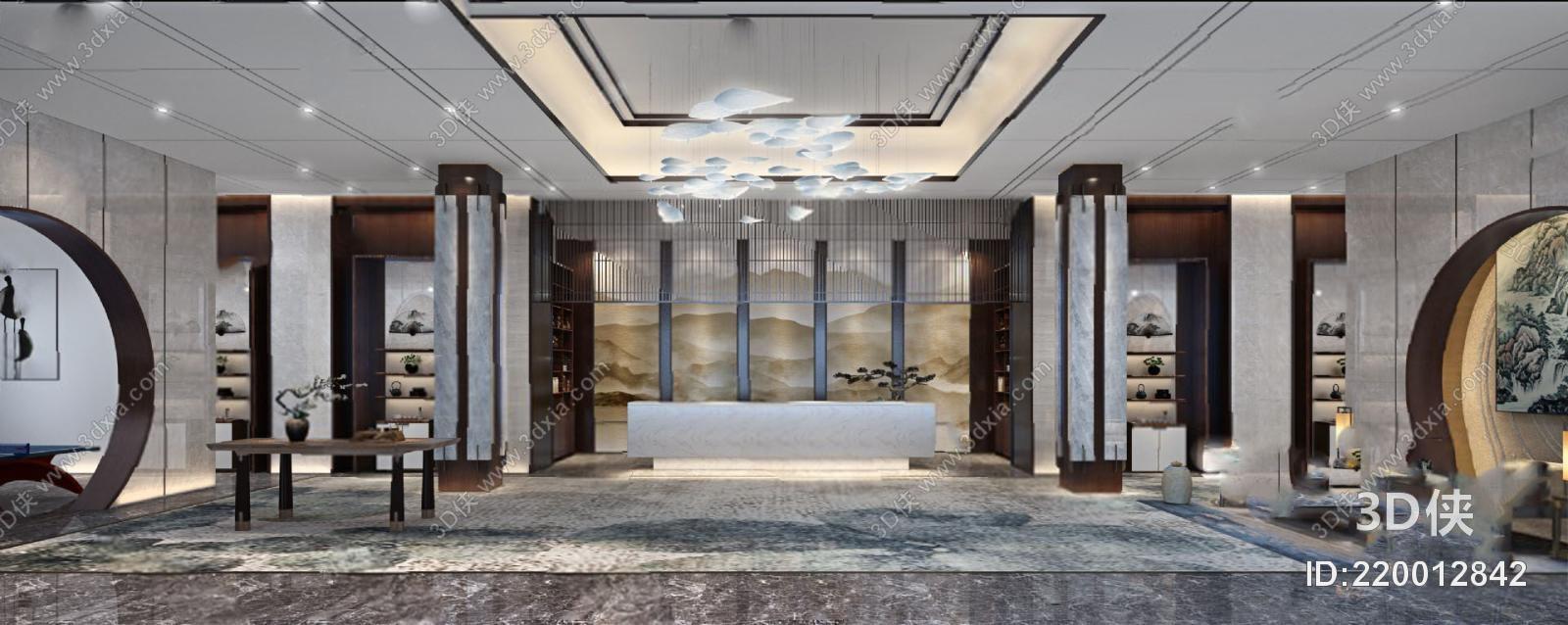 酒店大堂效果图素材免费下载,本作品主题是新中式酒店大厅3d模型,编号