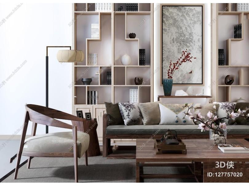 新中式实木沙发茶几书柜装饰柜摆件3D模型