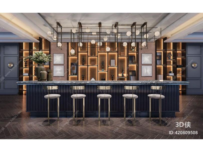 现代售楼处水吧台 现代售楼处 吧台 吧椅 装饰柜 金属吊灯