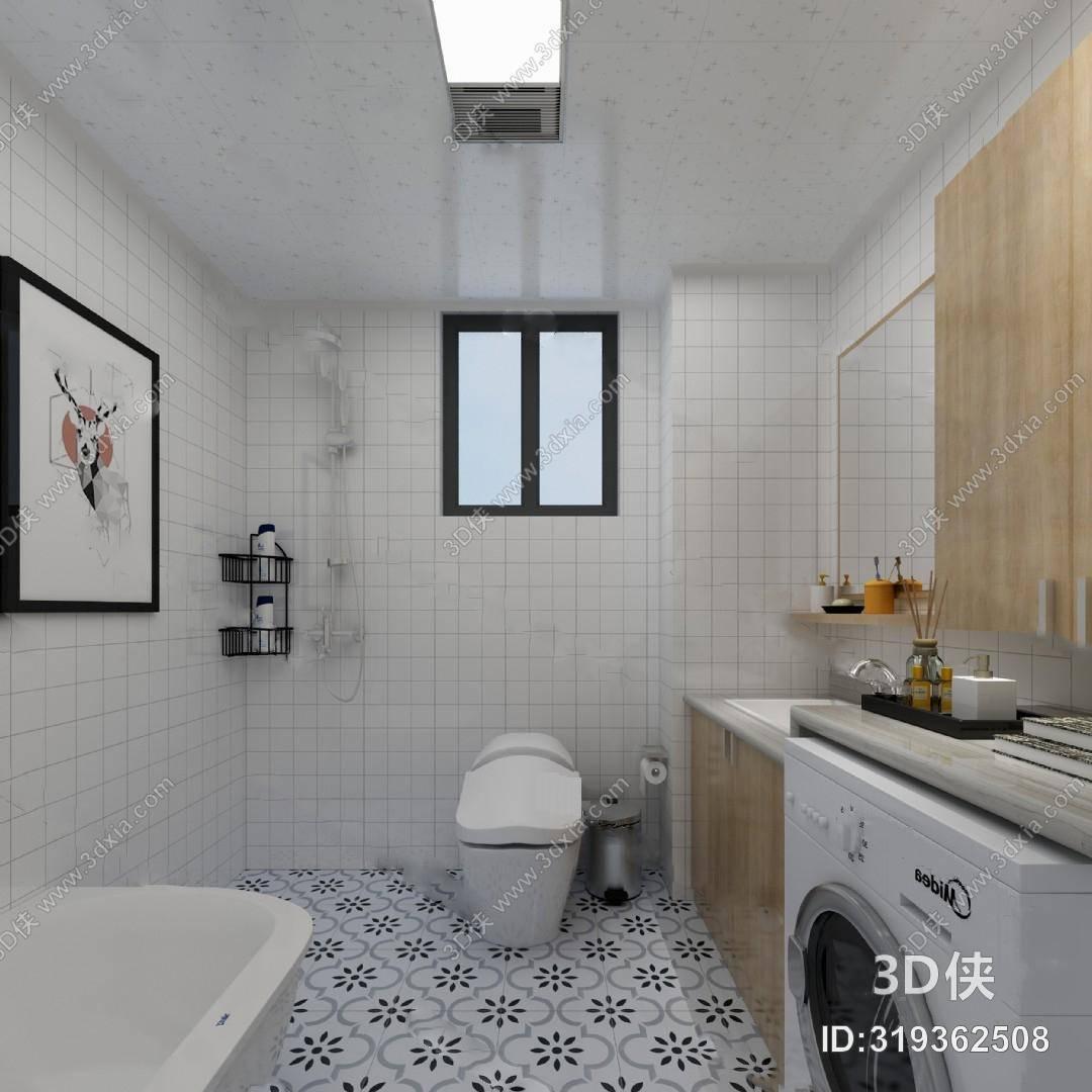 效果图素材免费下载,本作品主题是北欧卫生间3d模型 马桶 浴缸洗衣机