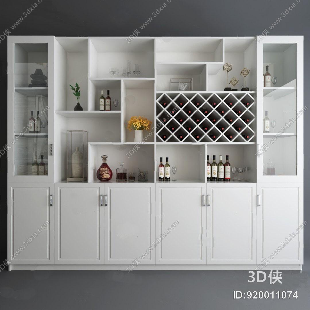 1264浏览数349次下载 3d侠模型网提供精美好看的现代 酒柜效果图素材