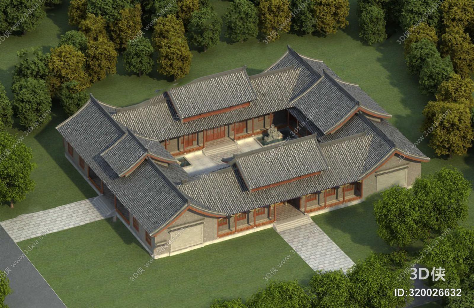 古建筑效果图素材免费下载,本作品主题是建筑3d模型,编号是320026632
