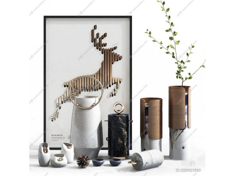 现代摆件 现代摆件 花瓶 装饰画 花艺