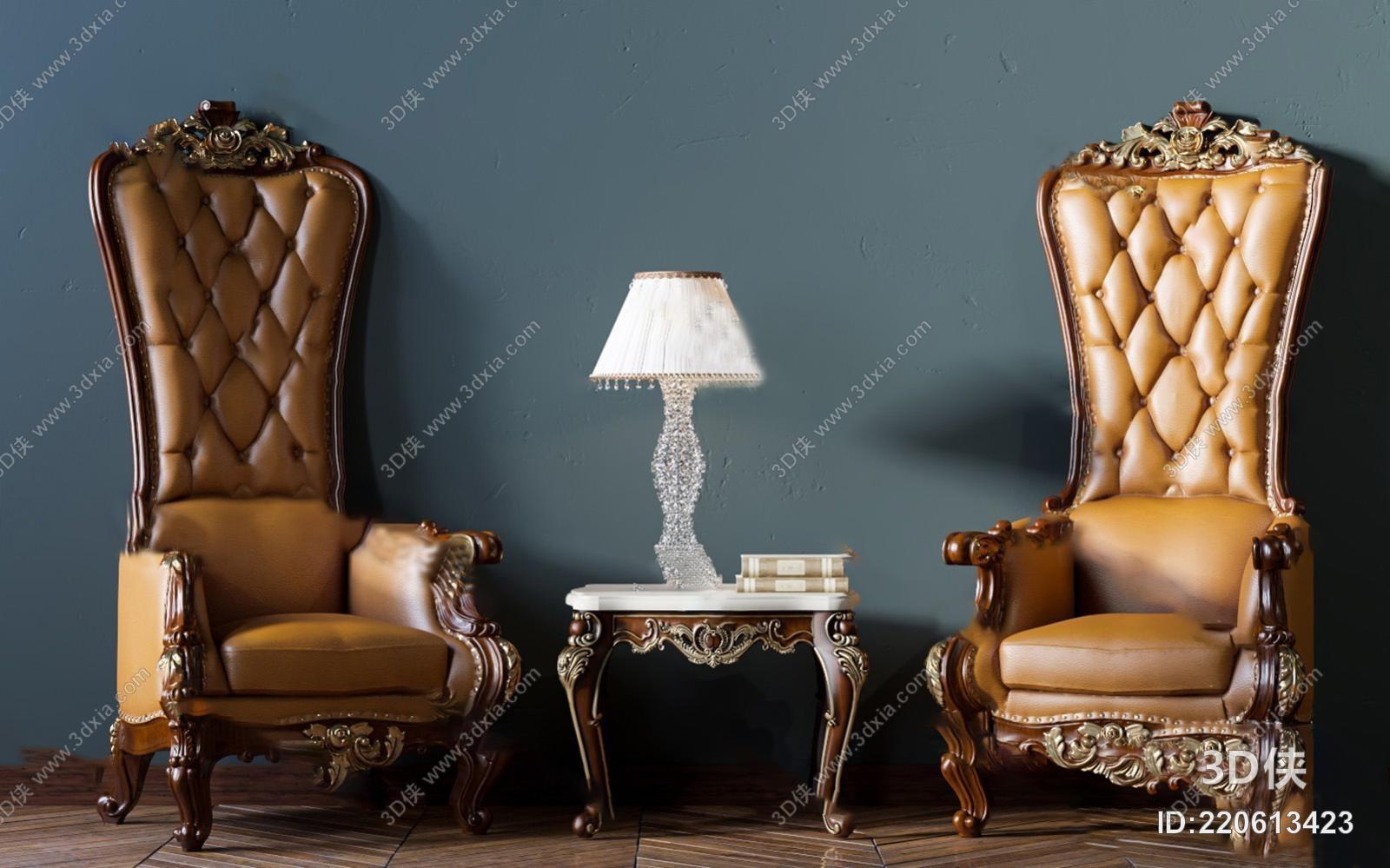 欧式休闲椅3d模型图片