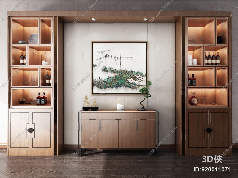 7799浏览数2142次下载 3d侠模型网提供精美好看的新中式 酒柜效果图