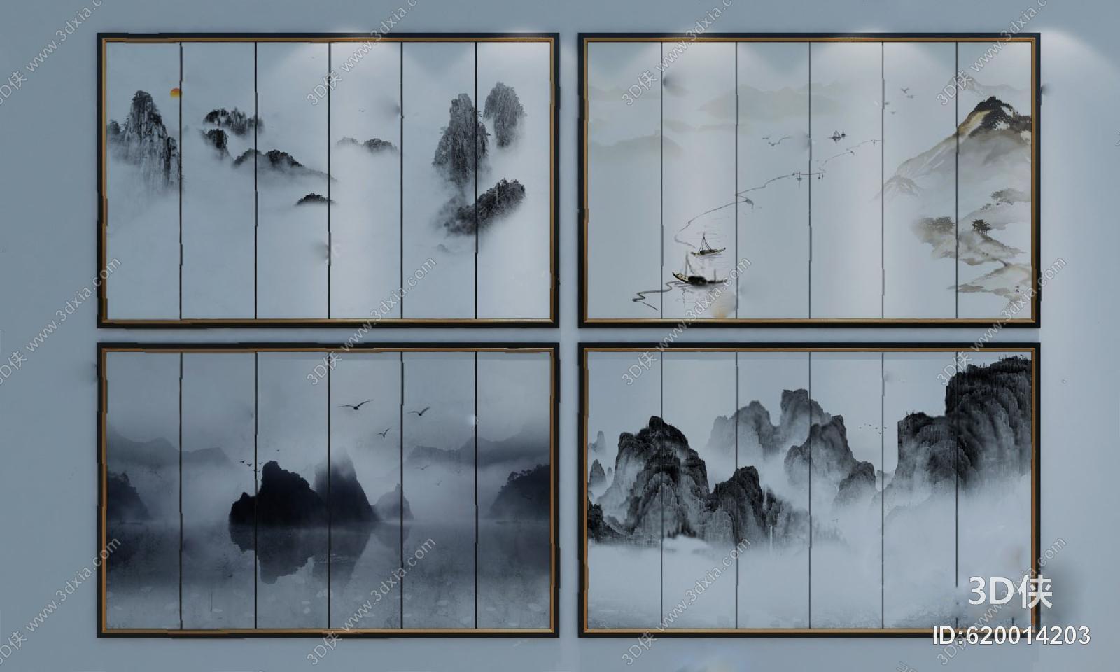 格式是max2010,建议使用3dmax 2012 软件打开,该新中式墙绘图片素材