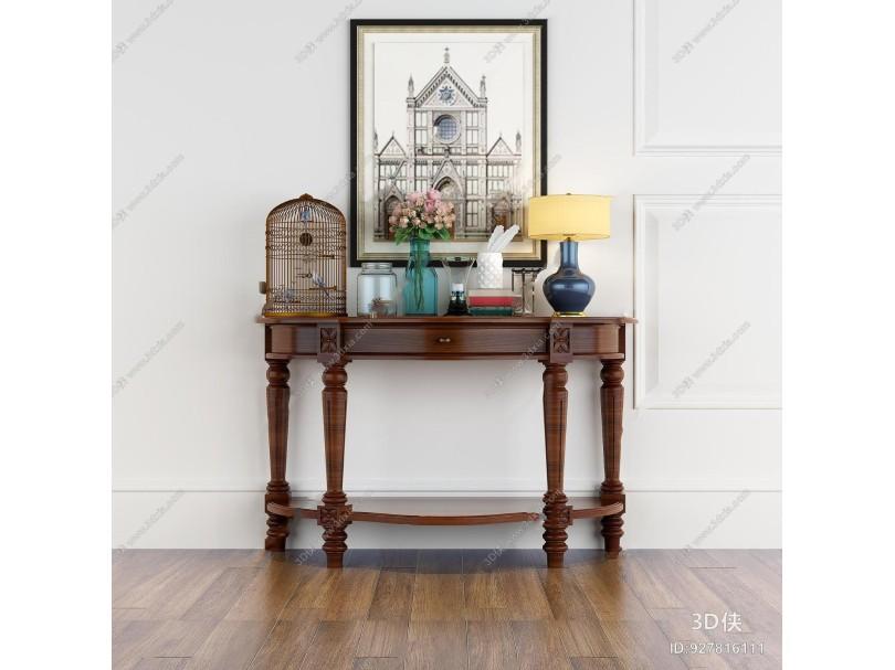 效果图素材免费下载,本作品主题是美式实木端景台台灯花瓶摆件组合3d