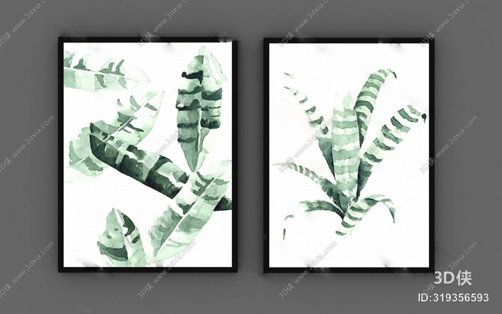墙绘效果图素材免费下载,本作品主题是北欧装饰画3d模型下载,编号是