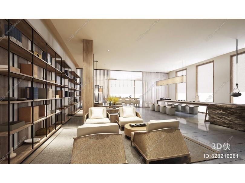 新中式书吧 新中式学校 图书馆 单人沙发 铁艺书架 茶台 吊灯 茶具 休闲椅 书