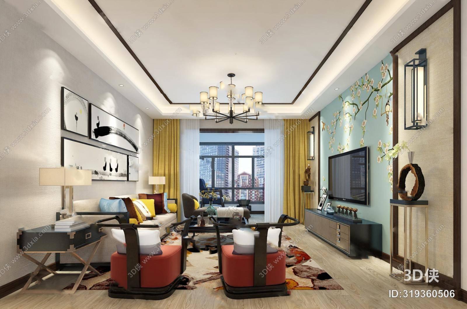 中式客厅3D模型 吊灯 背景墙 茶几 沙发 装饰画
