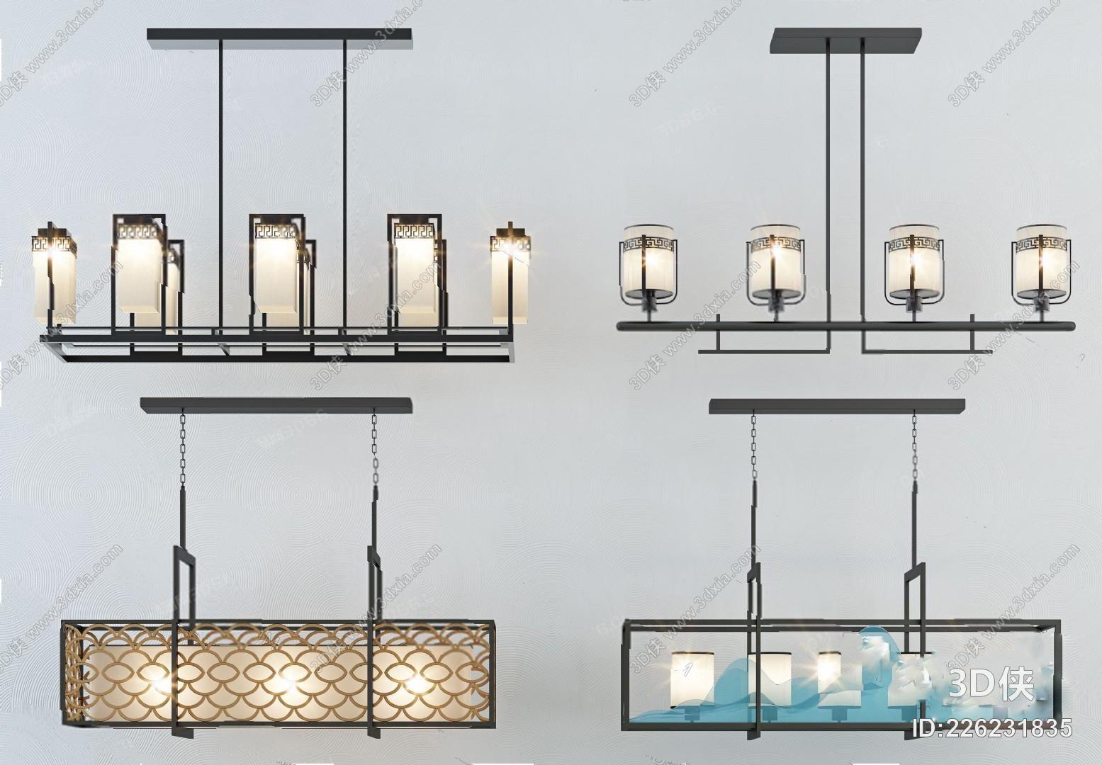 新中式吊灯3D模型