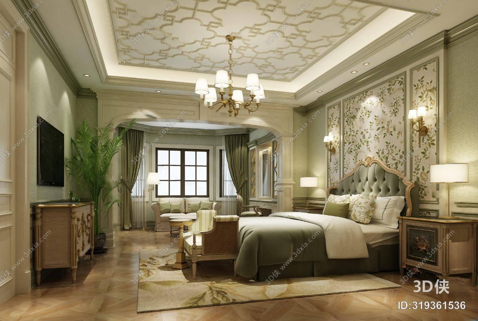欧式卧室3D模型 双人床 床头柜 电视柜 吊灯