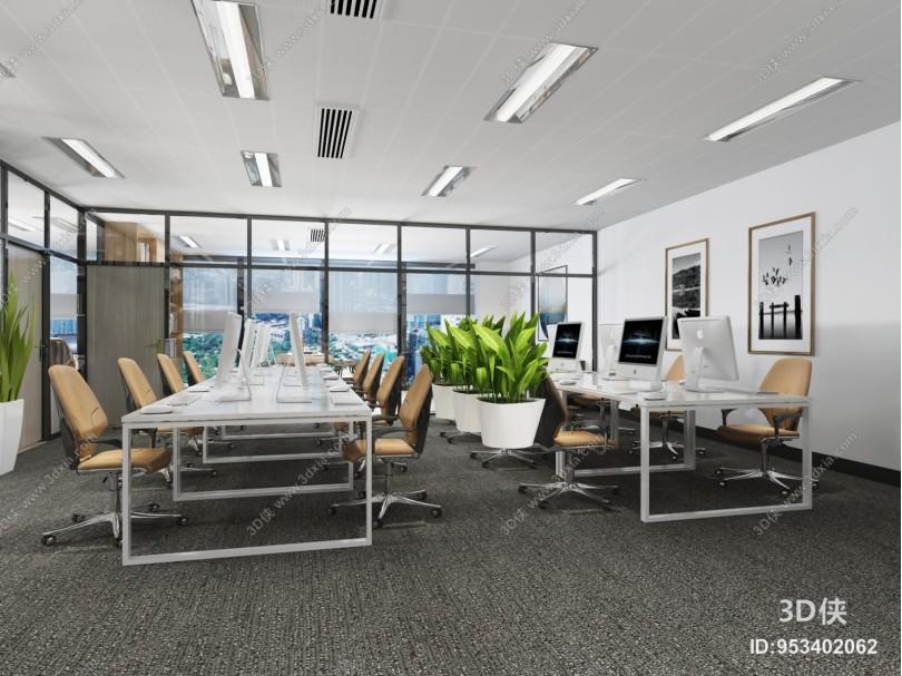 现代办公室 挂画 办公桌椅