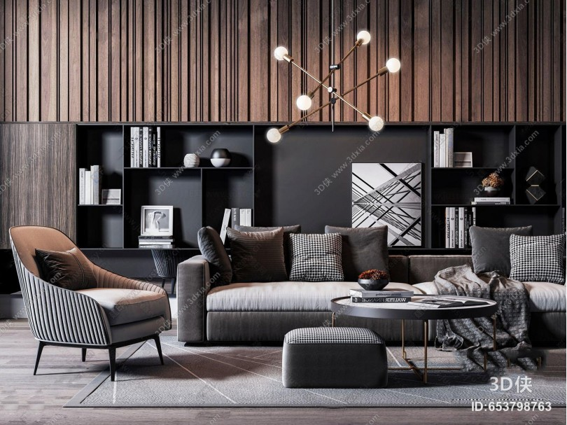 后现代客厅 组合沙发