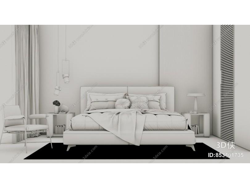 现代轻奢双人床 休闲椅组合