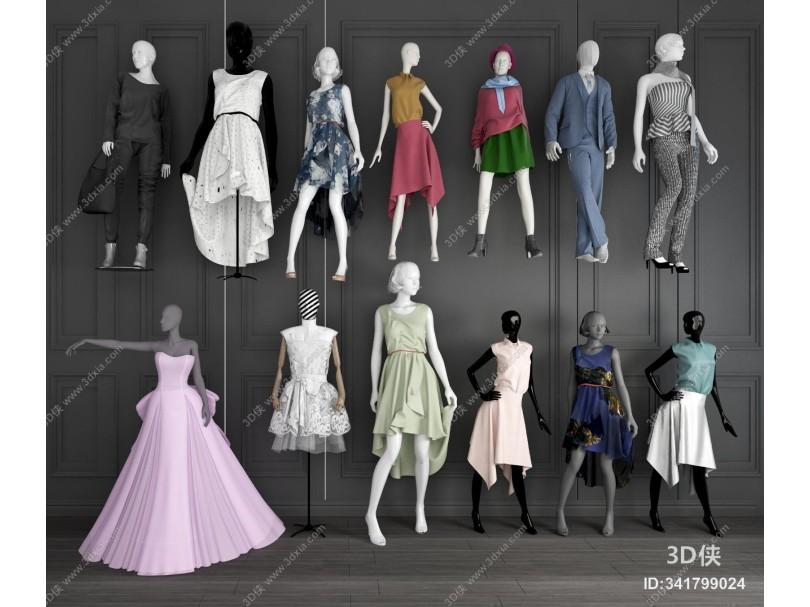 现代服装店模特婚纱模特女装模特组合 服装模特架 服装模型 现代人物