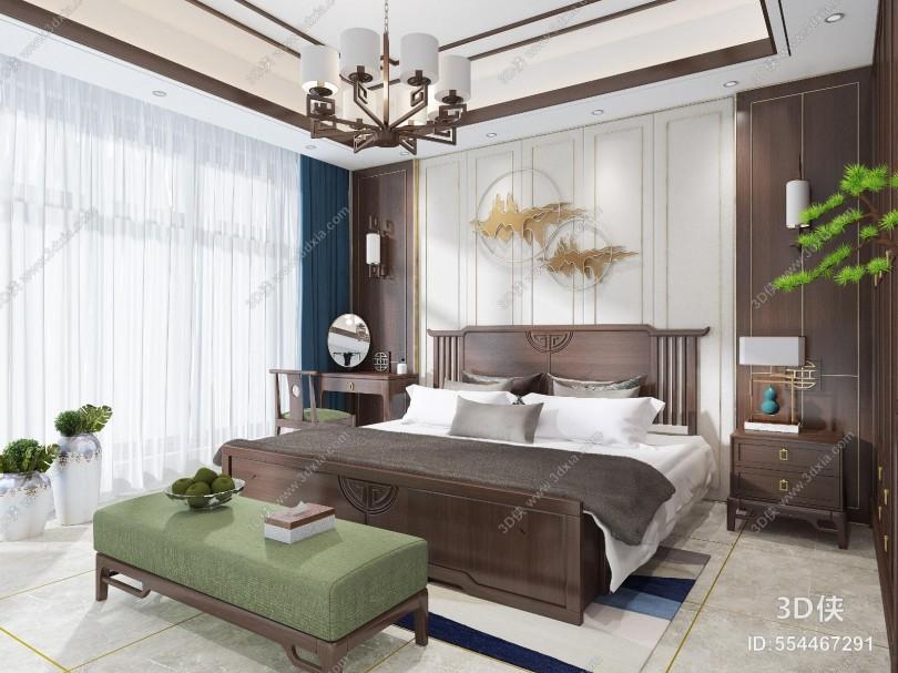 效果圖素材免費下載,本作品主題是新中式主臥室家具 大床衣柜床頭柜背