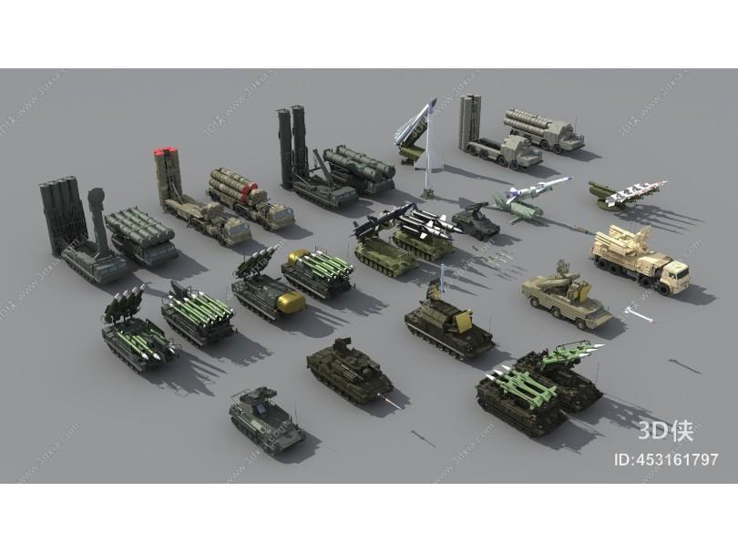 现代导弹发射车 坦克装甲车