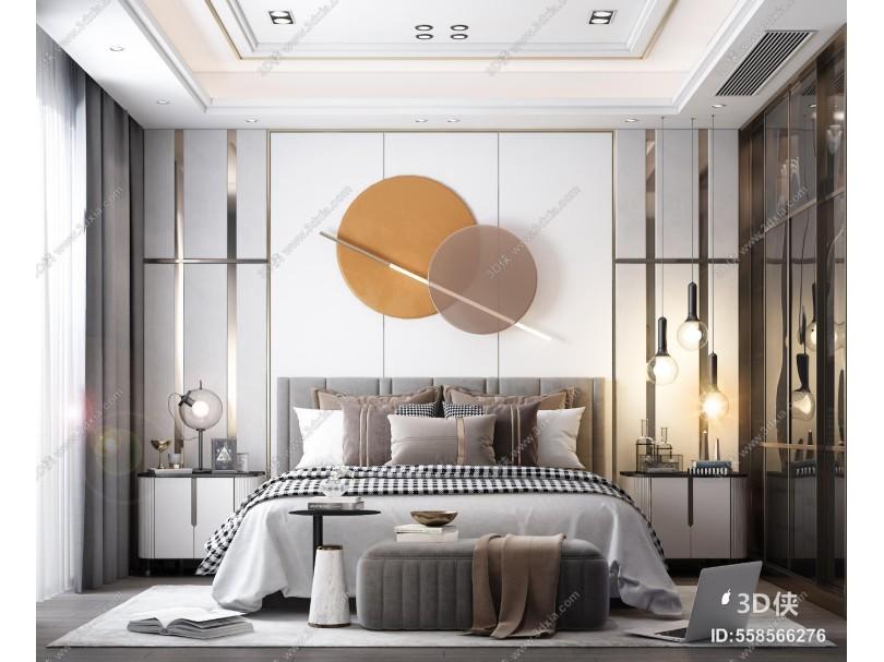 现代卧室 床