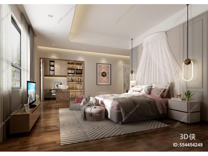 好看的现代卧室效果图素材免费下载,本作品主题是现代轻奢风格女孩房