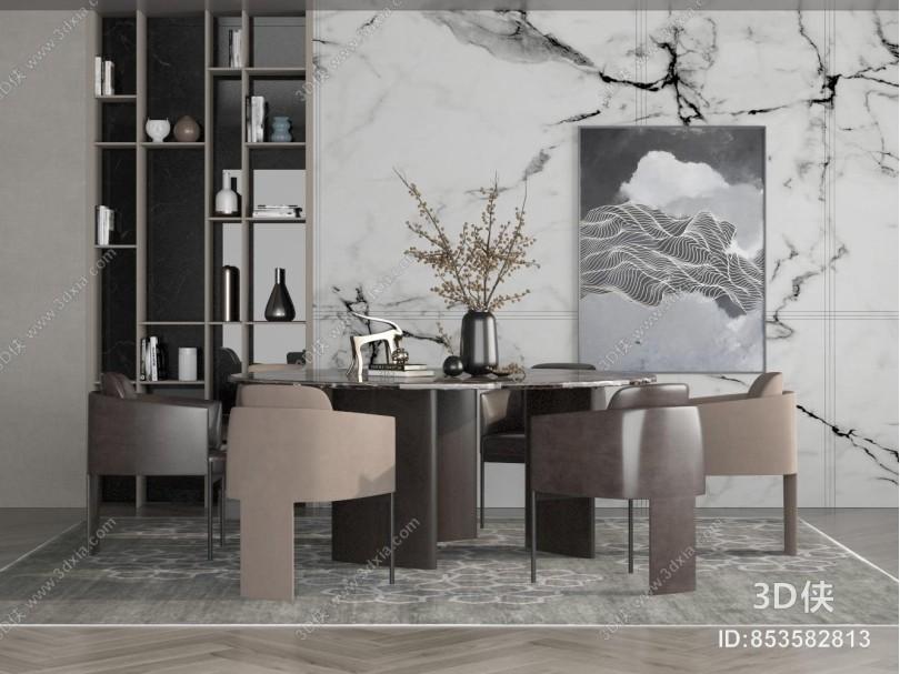 现代圆形餐桌椅组合