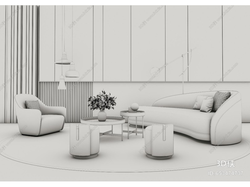 现代轻奢高级灰沙发茶几组合