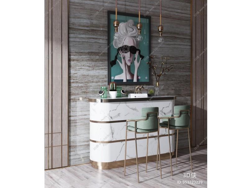 现代轻奢吧台吧椅组合 装饰品 摆件