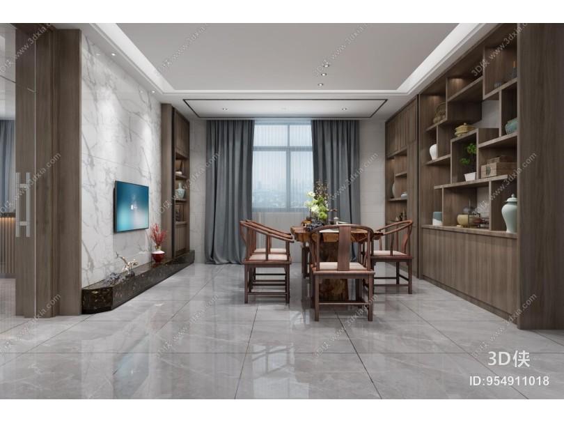 新中式办公室 经理室电视背景墙 书柜装饰柜博古架【id:954911018】