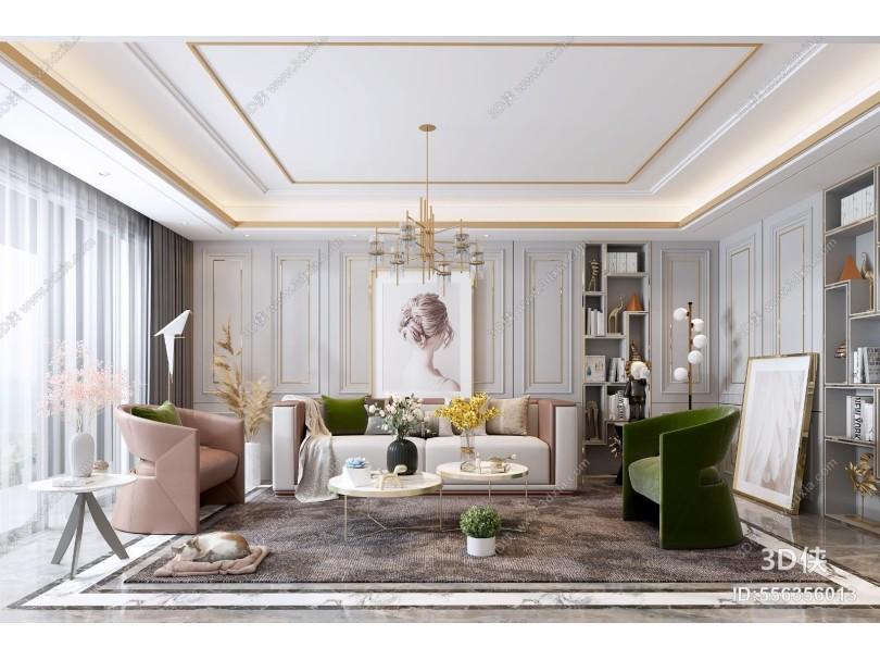 现代轻奢客厅 吊灯 装饰画