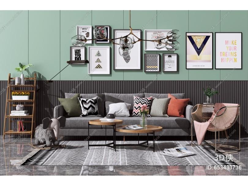 北欧布艺沙发茶几组合 休闲单人椅 花架 置物架