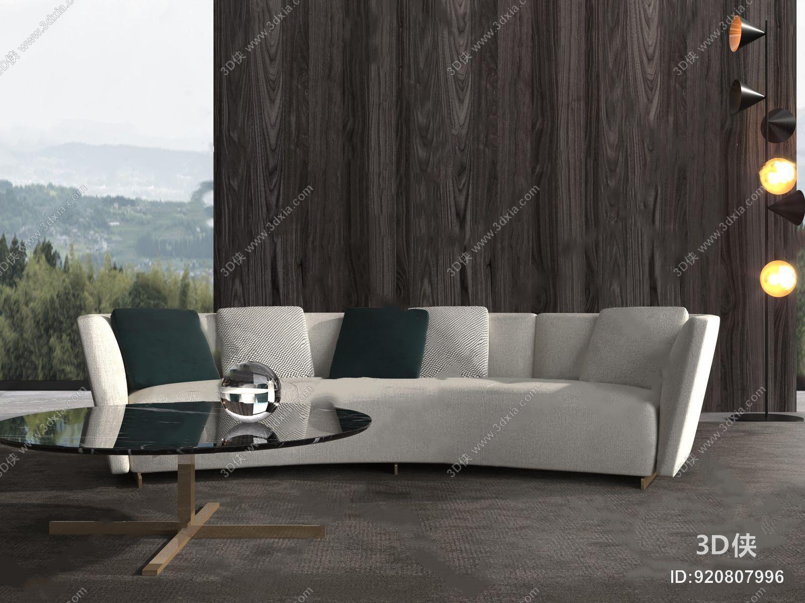 效果图素材免费下载,本作品主题是minotti现代弧形沙发 现代多人沙发