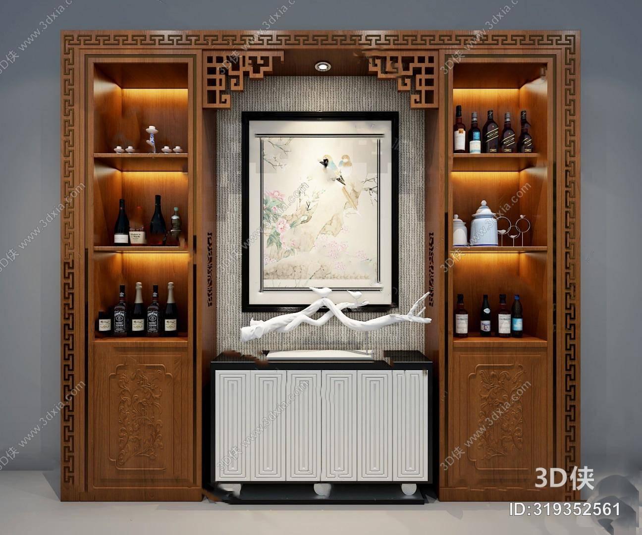 3643浏览数787次下载 3d侠模型网提供精美好看的传统中式 酒柜效果图